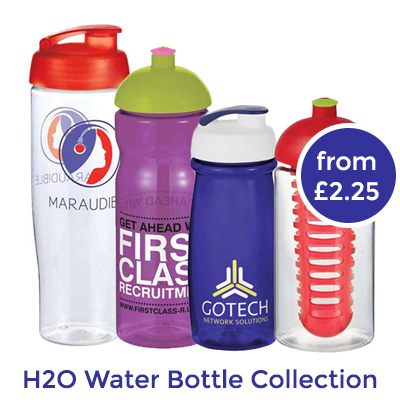 H2O reusable branded water bottle collection