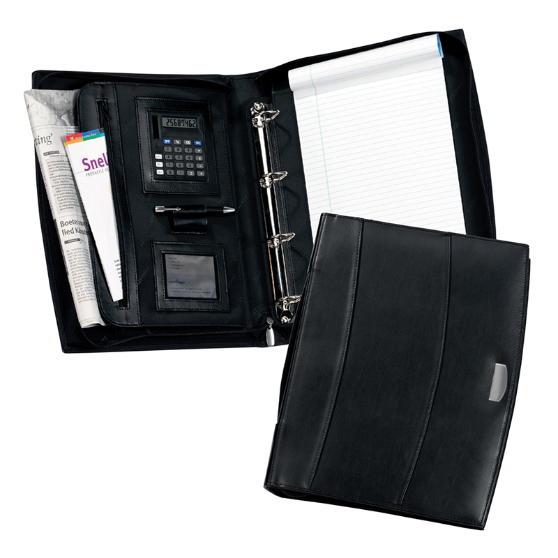 Solutions Calculator A4 Zipped Leather Ring Binder