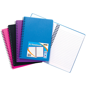 A5 Polyprop Wiro-Bound Notebook - Assorted Pack of 5