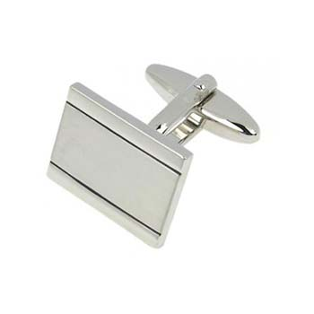 Brushed Rectangular Shiny Edged Cufflinks