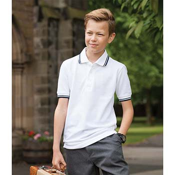 Henbury Kids Tipped Pique Polo Shirt