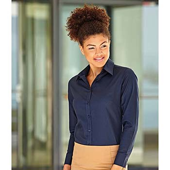 Fruit of the Loom Ladies Fit Long Sleeve Oxford Shirt
