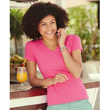Fruit of the Loom Lady Fit V Neck T-Shirt
