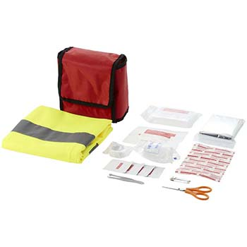 19-Piece First Aid Kit With Safety Vest