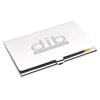 Classic City Business Card Holder Nickel Plated Engraved Silver