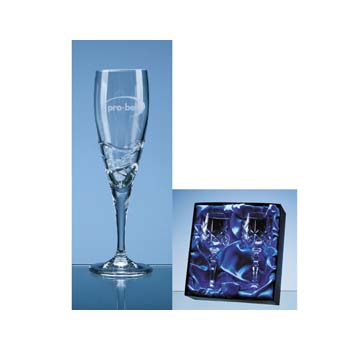 2 Verona Lead Crystal Champagne Flutes in Presentation Box