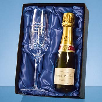Blenheim Single Champagne Flute Gift Set with a 20cl Bottle of Laurent Perrier Champagne