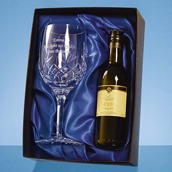 Blenheim Single Goblet Gift Set with a 18.7cl Bottle of White Wine