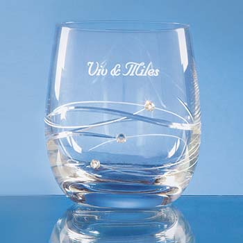 Single Diamante Whisky Tumbler with Spiral Design Cutting