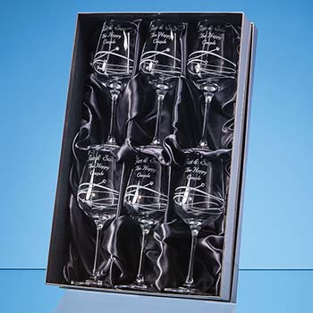 6 Diamante Wine Glasses with Essence Design Cutting in a Satin Lined Gift Box