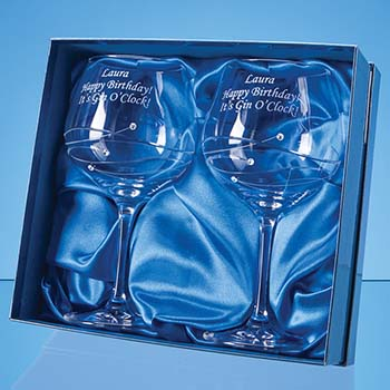 2 Diamante Gin Glasses in a Satin Lined Gift Box
