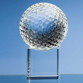 10cm Optical Crystal Golf Ball on Clear Base