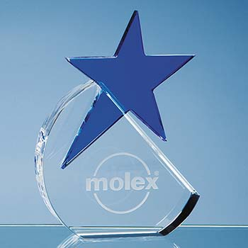 15cm Optical Crystal Circle with Blue Star Award