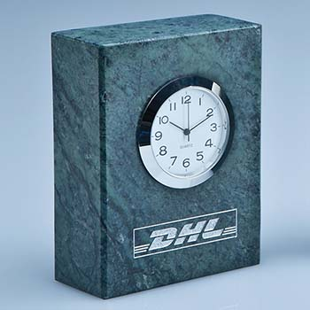 8cm Green Marble Bevel Edged Rectangle Clock