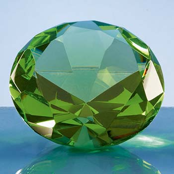 8cm Optical Crystal Green Diamond Paperweight