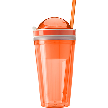 Snack Mug With Straw And Extra Compartment