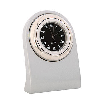 Arch Executive Desk Clock Silver