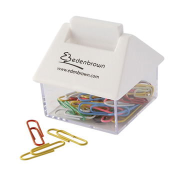 House Shaped Paperclip Dispenser White/Clear