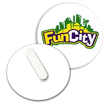 55mm Clip Badge - White