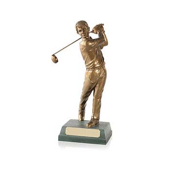 "Antique Gold Finish Completed Swing Golf 10"" Award"