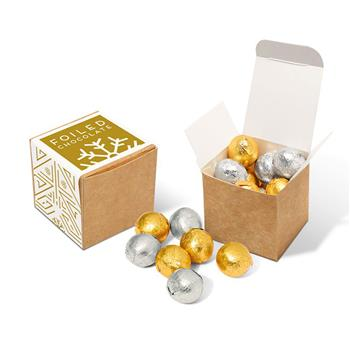 Eco Kraft Cube - Foiled Chocolate Balls
