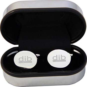 Round Cufflinks In Chrome Box