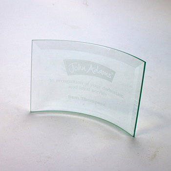 10cm x 14.5cm Jade Glass Bevelled Crescent