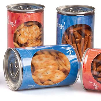 Pull-Ring Container with Salty Pretzels, Mini Breadsticks or Crackers